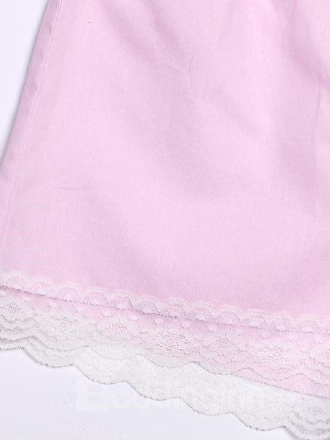 Lovely Pink Lace Border Princess Style Loungewear