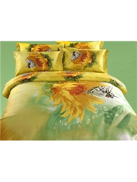 Hot Selling Golden Flower and Butterfly Print Duvet Cover Sets