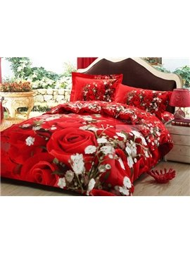 New Arrival High Quality Rose Bloom 4-Piece Duvet Cover Sets