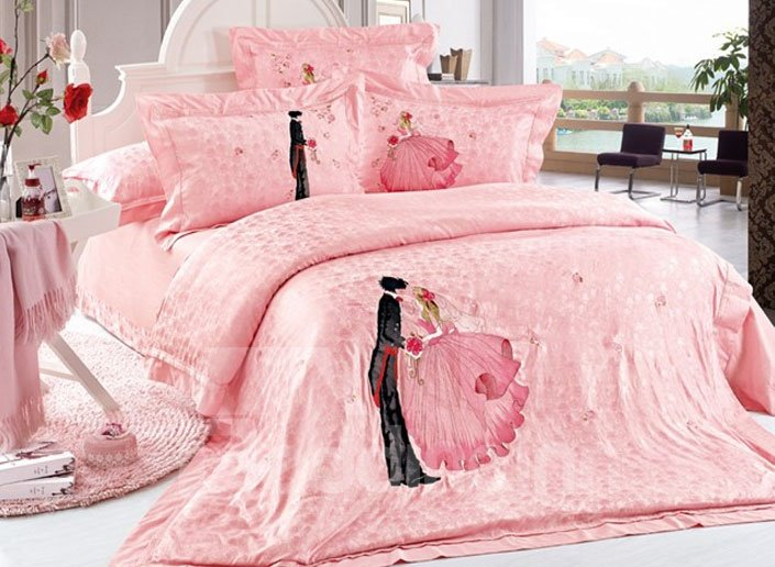 Hot Selling Romantic Lovers Embossed 4-Piece Duvet Cover Sets