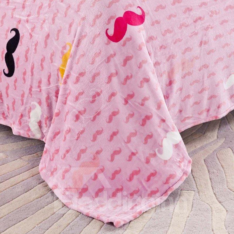Super Soft Funny Mustache Print 4-Piece Coral Fleece Duvet Cover Sets