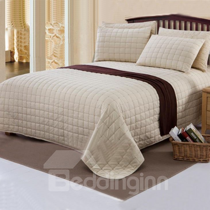 Concise Style Pure Beige Yellow Squares Bed in a Bag Set