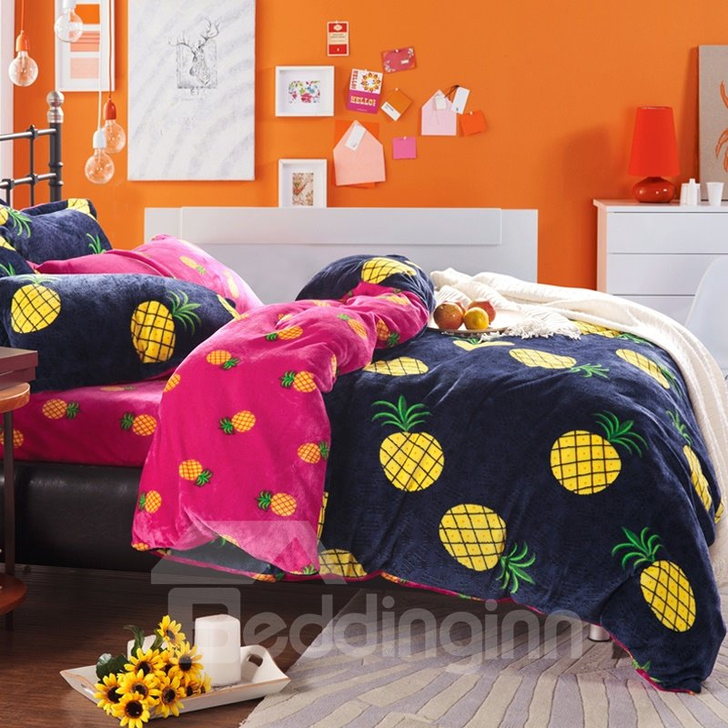 Bright Yellow Pineapple Print 4 Piece Coral Fleece Duvet