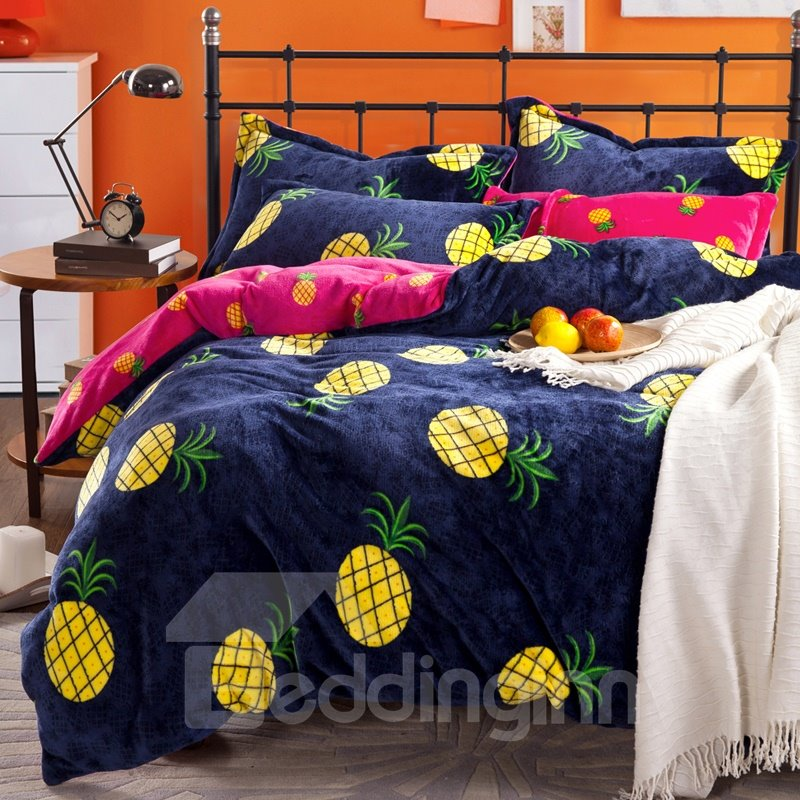Bright Yellow Pineapple Print 4 Piece Coral Fleece Duvet