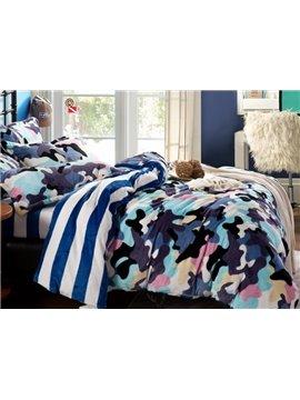 Fashion Camouflage Print 4-Piece Coral Fleece Duvet Cover Sets
