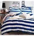 High Quality Blue Stripe Print Reversible 4-Piece Coral Fleece Duvet Cover Sets
