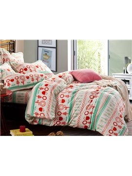 Best Selling Green and Red Cartoon Flower Print Reversible 4-Piece Coral Fleece Duvet Cover Sets