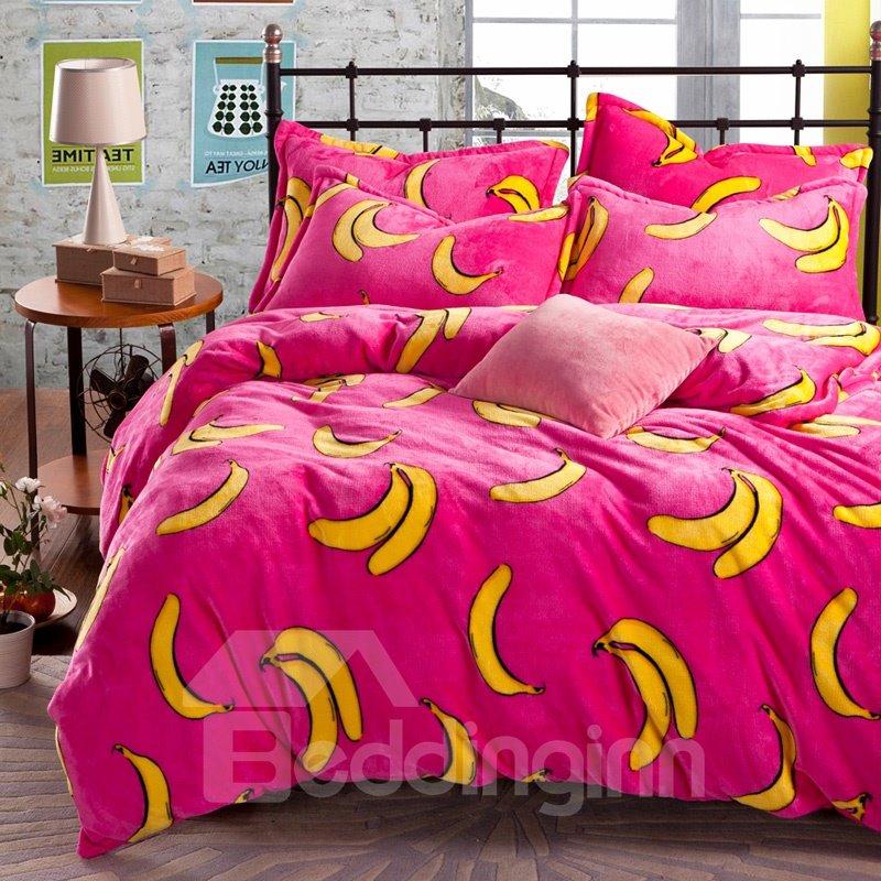 New Arrival Bright Color Banana Print Reversible 4-Piece Coral Fleece Duvet Cover Sets