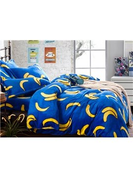 Bright Color Banana with Blue Ground Print Reversible 4-Piece Coral Fleece Duvet Cover Sets