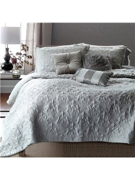 European Style Silk-Like Pure Gray Bed in a Bag Set