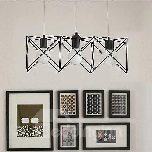 Beautiful Alloy 3-Heads Polygon Shape Pendant Lights