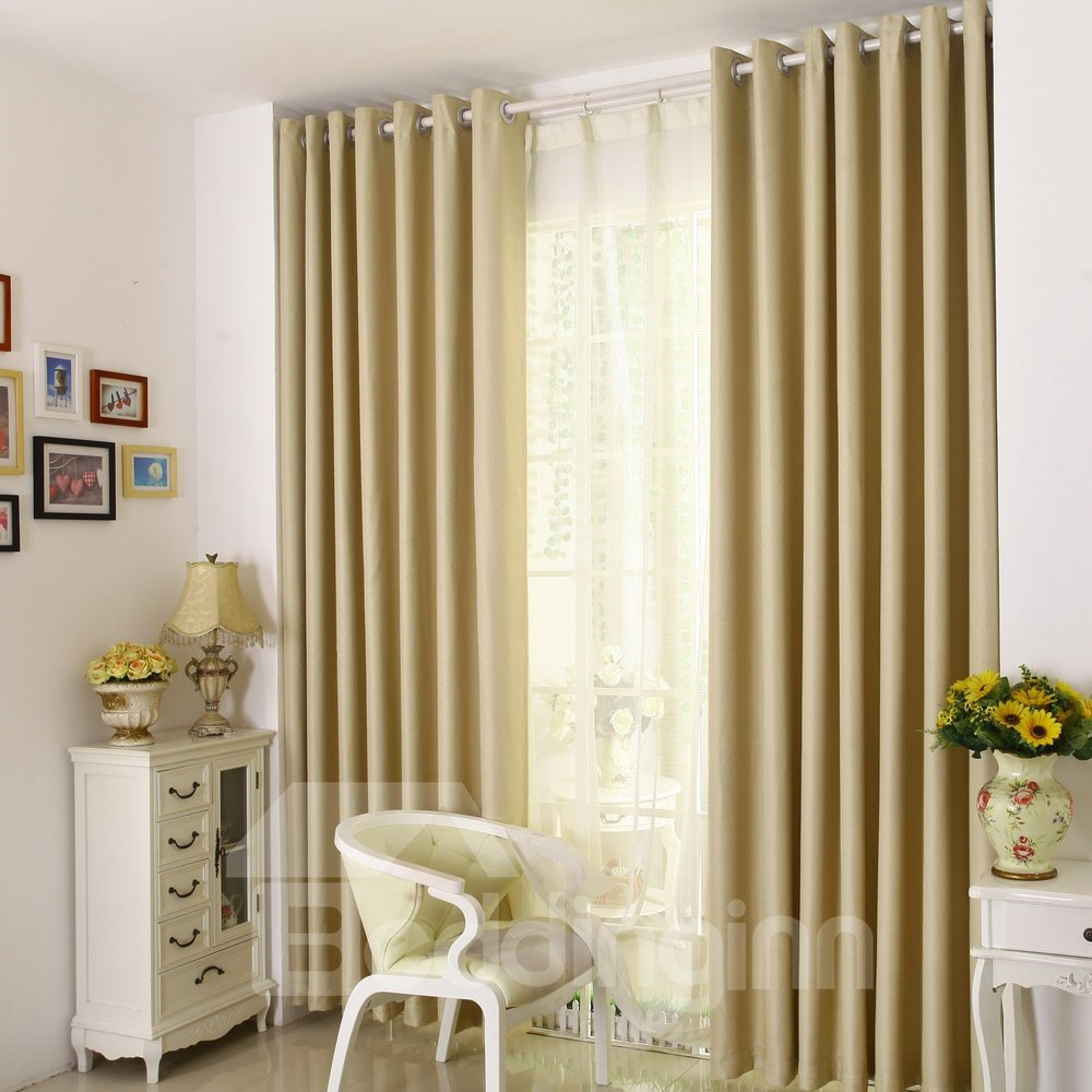 Modern Solid Beige Blackout Custom Grommet Top Curtain