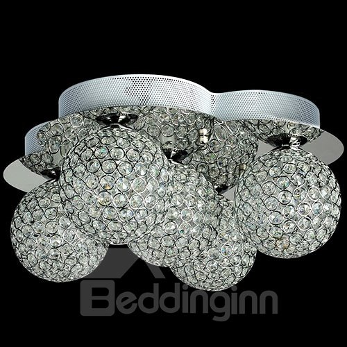 Amazing 5-Heads Alloy and Crystal Flush Mount