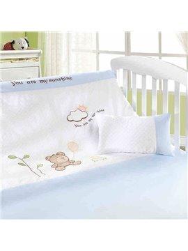 Cozy Cartoon Bear Cloud Printing 4-piece Crib Bedding Sets