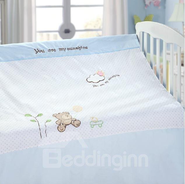 Cozy Cartoon Bear Cloud Printing 4 Piece Crib Bedding Sets