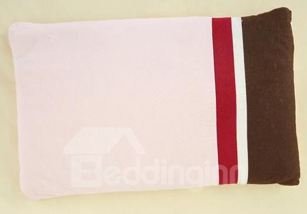 Red and Brown Stripes Buckwheat Hull Filling Pink Baby Pillow