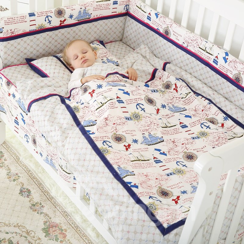 Brave Seafarer Travelling over the Sea Pattern Cotton Crib Bedding Set