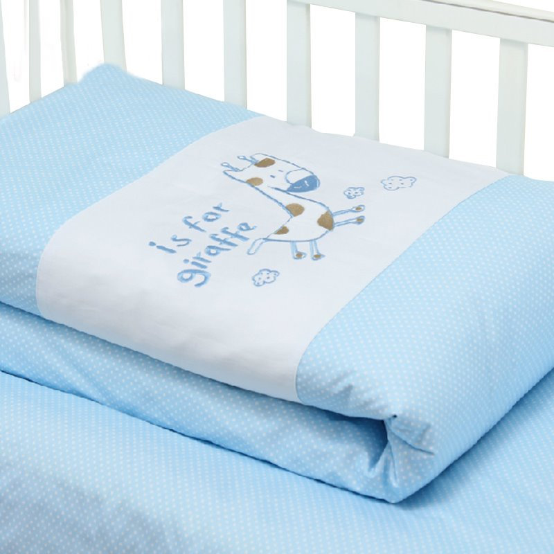 Hand Made White Dots Giraffe Playing Sky Blue Baby Quilt