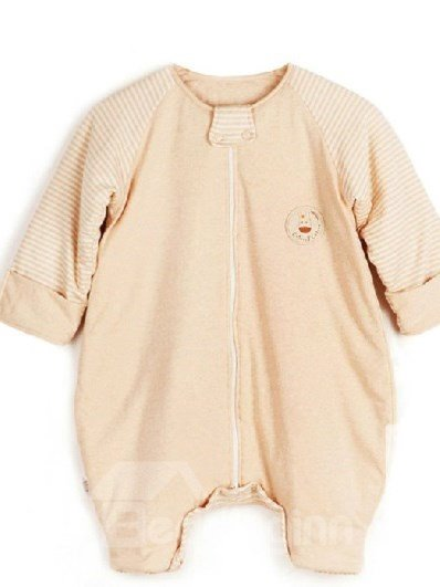 Cozy Stripe Print Natural Colored Cotton Zipper Baby Sleeping Bag