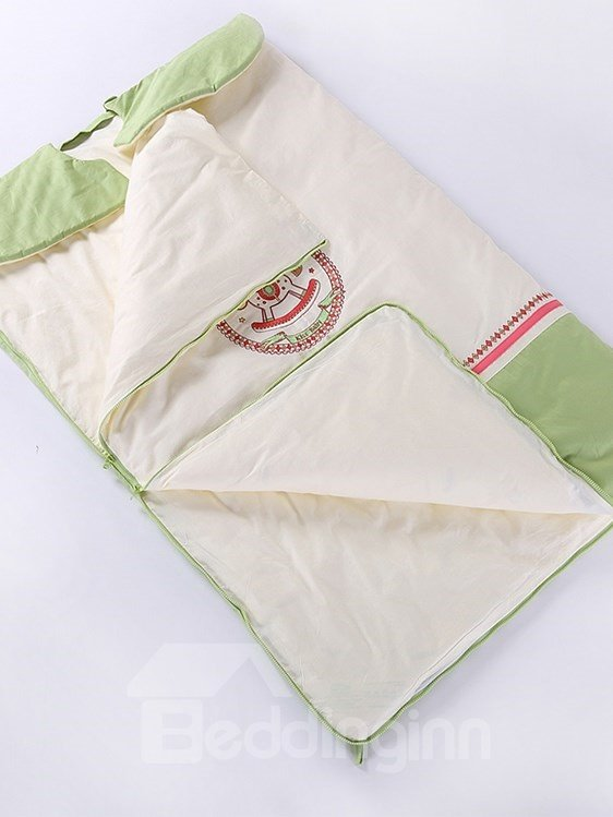 Round Carousel Painting Light Green Border Baby Sleeping Bag