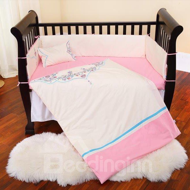 Beautiful Flower Embroidery Pattern Super Soft Cotton Crib Bedding Set
