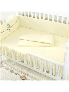 Unique Beautiful Flower Painting Beige Yellow 4-Piece Crib Bumper Set