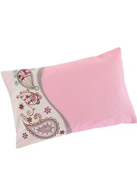 Creative India Flower Embroidery Pattern Pink Baby Pillow