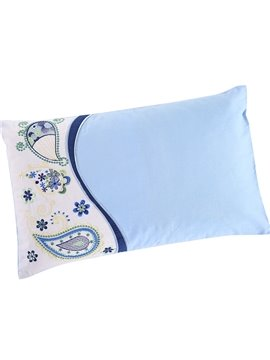 Beautiful Dew Embroidery Pattern Fresh Cool Blue Baby Pillow