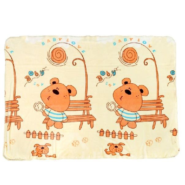 Naughty Cute Bear Pattern Yellow Baby Blanket