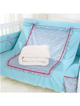 Red Squares Red Floral Pattern Blue Baby Quilt