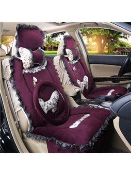 Super Warm and Comfortable Short Plush Floral and Bow Knot Car Seat Cover