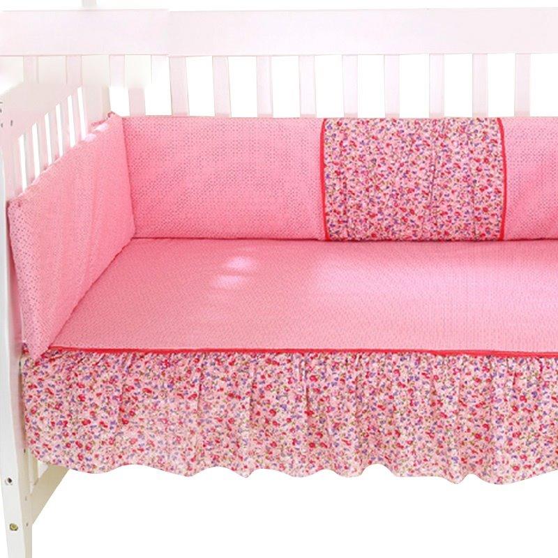 Pink Border Squares Pattern Pink 4 Piece Crib Bumper