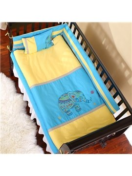 Bright Color Elephant Playing Painting Combination Yellow and Blue 10 Piece Baby Bedding Set