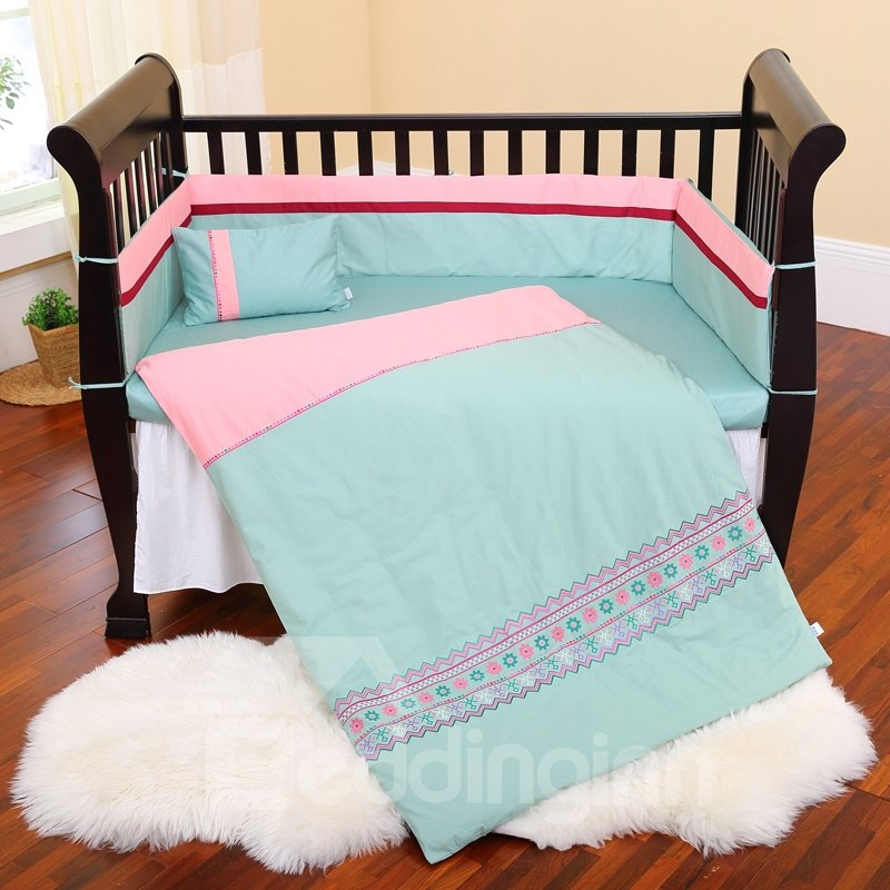Pink And Green Flowers Stripe Pattern 10 Piece Crib