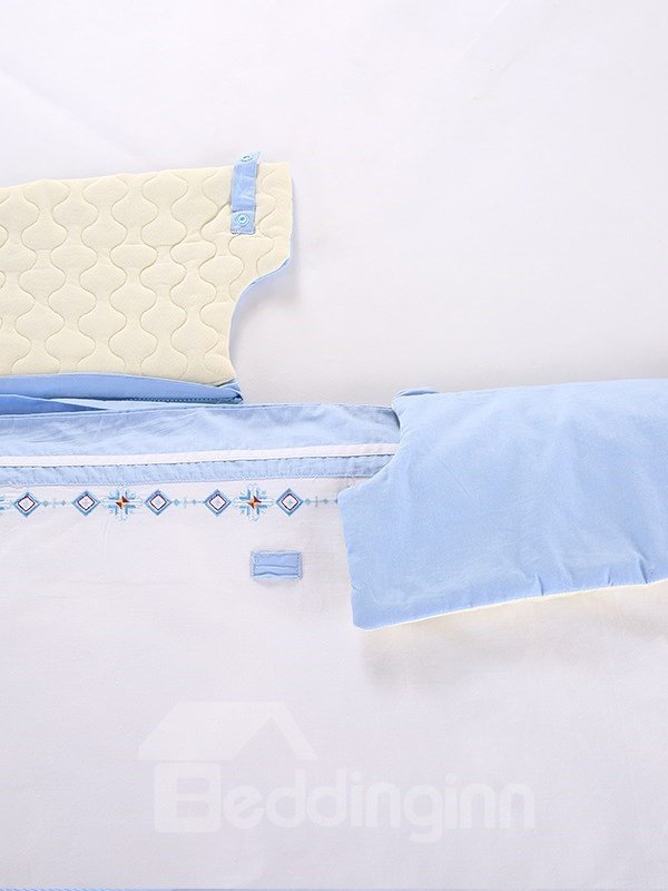 Beautiful Cross Shape Flowers Pattern Light Blue Border Baby Sleeping Bag