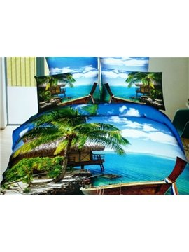 Beautiful Green Coconut Tree and Blue Ses Print 4-Piece Cotton Duvet Cover Sets