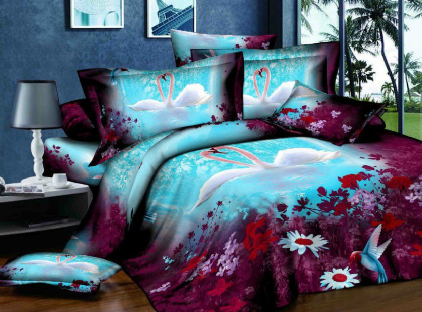 White Swan Couple and Purple Flower Print 4-Piece Polyester Duvet Cover Sets