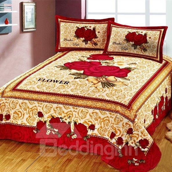 Amazing Beautiful Red Rose Flower Pattern Printed Sheet