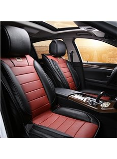 Classic Sport Leatherette Material Contrast Color Universal Five Car Seat Cover
