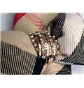 Classic Style Colored Squares and Big Bow Knot Pattern One Pair Car Seat Belt Cover