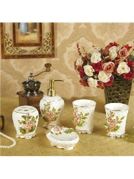 Romantic Rose European Style 5-piece Ceramic Bathroom Accessories