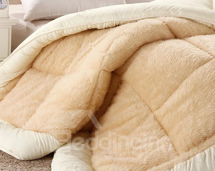 Long Plush Super Warm and Comfortable Light Yellow Quilt