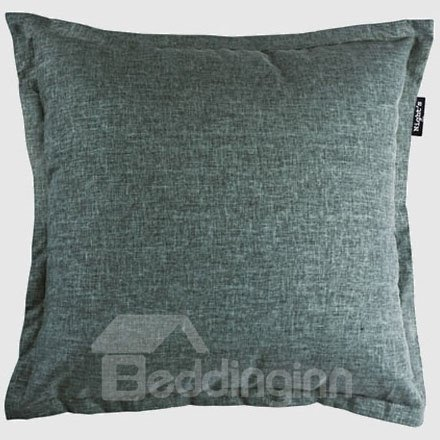 Gray Flax Style Solid Color Pattern Throw Pillow
