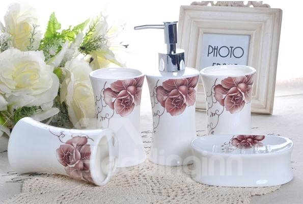 Wonderful Charming Rose Pattern Ceramic 5-piece Bathroom Accessories