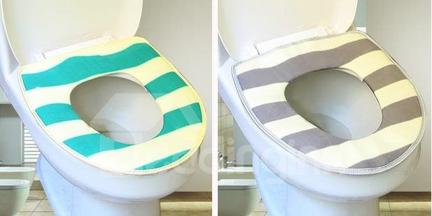 Fashion Cozy Stripe Pattern Warm Toilet Seat Cover