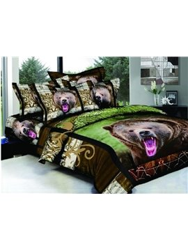 Powerful Big Brown Bear Print 4-Piece Cotton Duvet Cover Sets