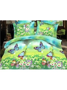 Flying Butterfly and Beautiful Flower Print 4-Piece Polyester Duvet Cover Sets