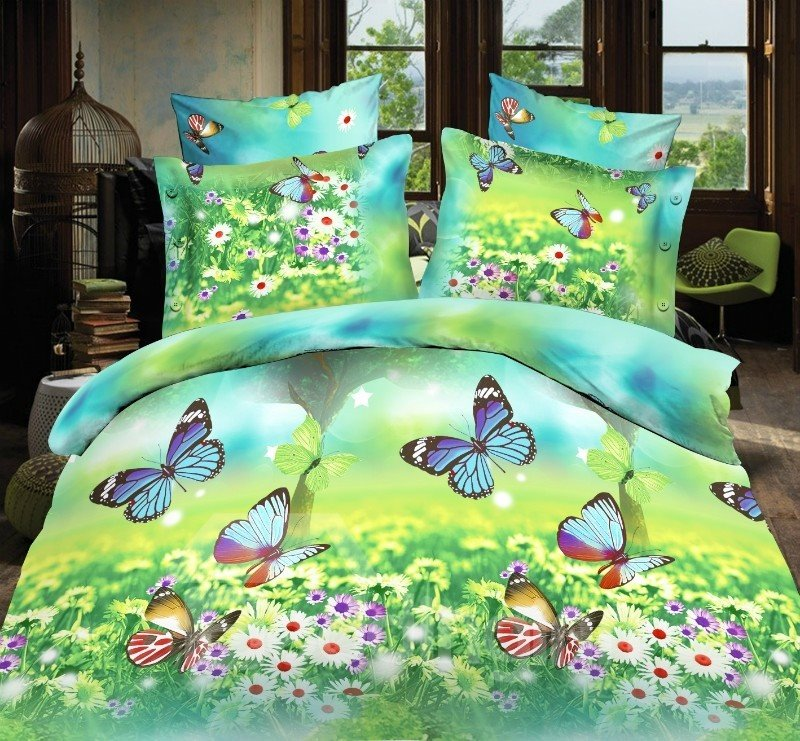 Flying Butterfly and Beautiful Flower Print 4-Piece ...