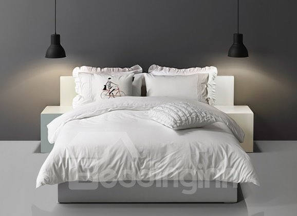 Minimalist pure white lace edging 4 piece cotton duvet for Minimalist bedding sets