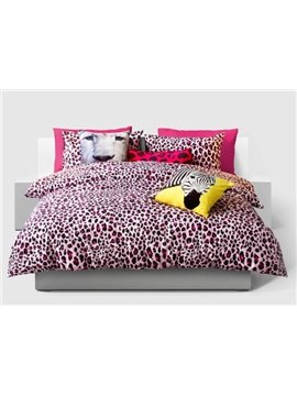 Sexy Red Leopard Pattern 4-Piece Cotton Duvet Cover Sets